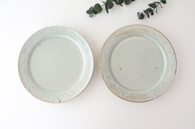 ナナメしのぎプレート 7.5寸 粉引 陶器 伊藤豊 画像4