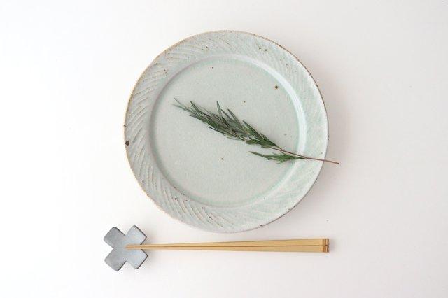 ナナメしのぎプレート 7.5寸 粉引 陶器 伊藤豊 画像5