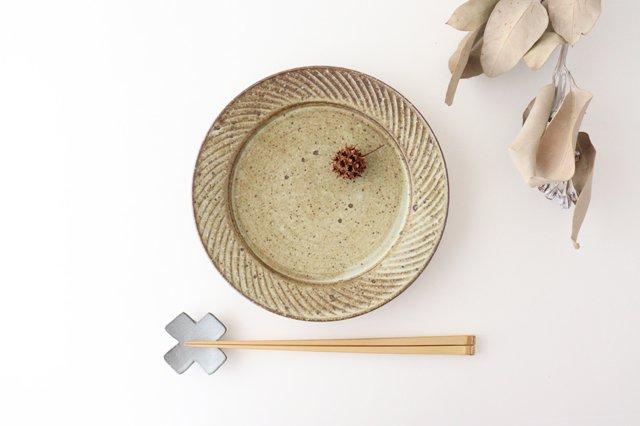ナナメしのぎプレート 6.5寸 もえぎ 陶器 伊藤豊 画像3