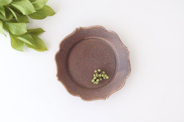 輪花皿 中 あずき 陶器 O然レ窯