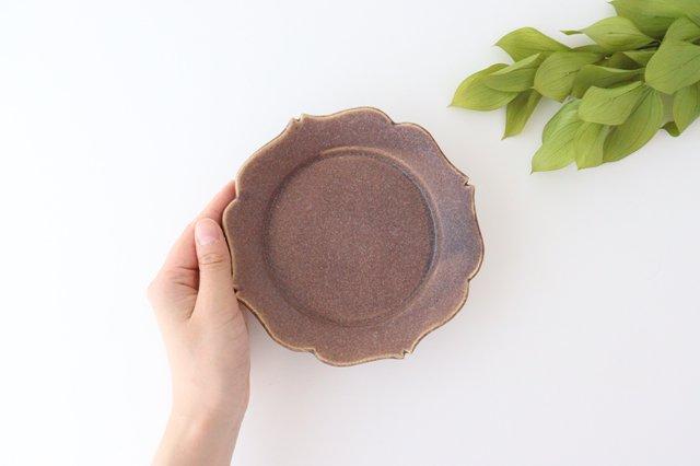 輪花皿 中 あずき 陶器 O然レ窯 画像3