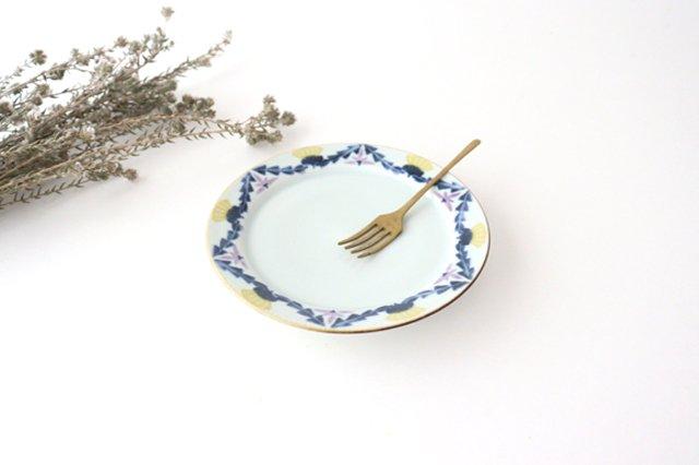5寸リム皿 タンポポとれんげ 磁器 皐月窯 砥部焼 画像2
