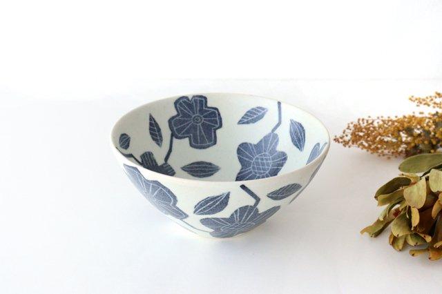 和紙染 花 深鉢 陶器 陶彩窯 砥部焼