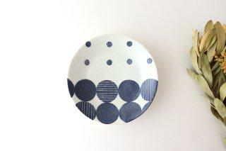 和紙染 丸模様 5寸皿 陶器 陶彩窯 砥部焼商品画像