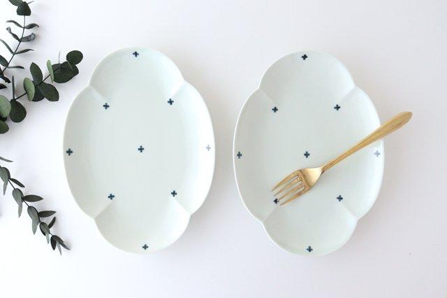 楕円木甲皿 25.5cm 青プラス 磁器 有田焼 画像2