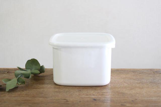 WhiteSeries ホーロー保存容器 スクエア M 野田琺瑯