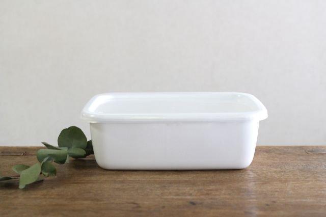 WhiteSeries ホーロー保存容器 レクタングル深型 M 野田琺瑯