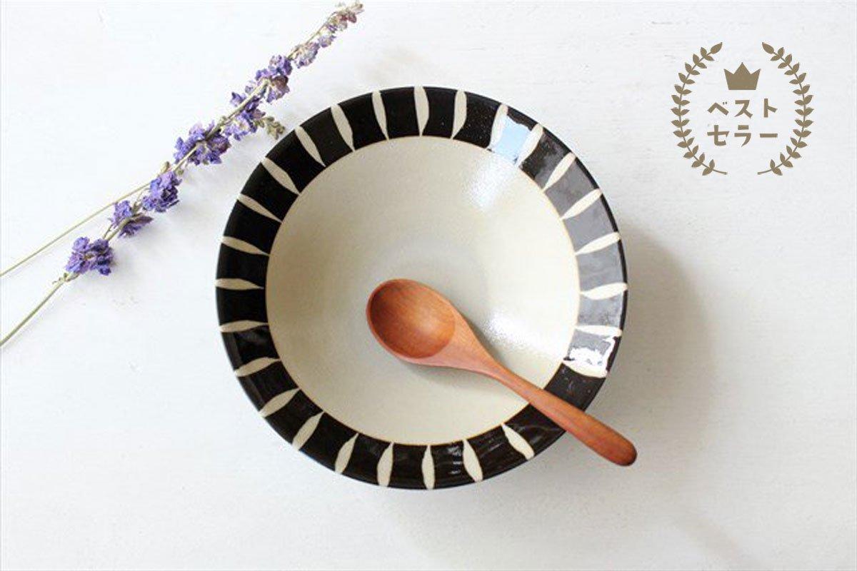 美濃焼 黒化粧十草(とくさ) 平鉢 陶器