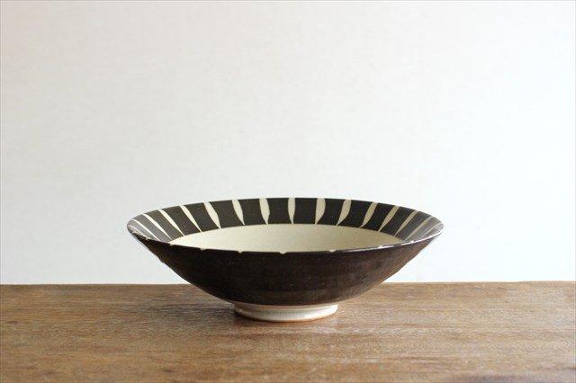 美濃焼 黒化粧十草(とくさ) 平鉢 陶器  画像2
