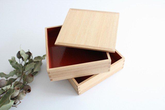 タモ白木塗 6寸二段重箱 内朱 松屋漆器店