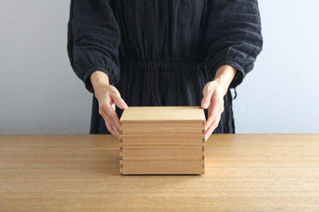 タモ白木塗 6寸二段重箱 内朱 松屋漆器店 画像2