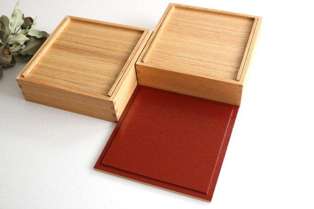 タモ白木塗 6寸二段重箱 内朱 松屋漆器店 画像3