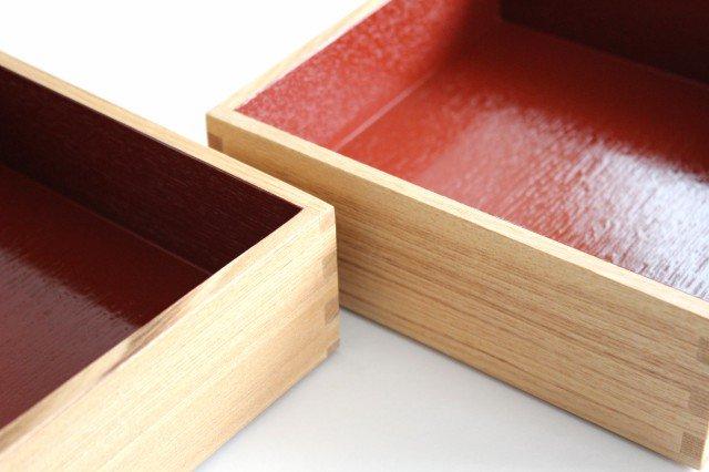 タモ白木塗 6寸二段重箱 内朱 松屋漆器店 画像6