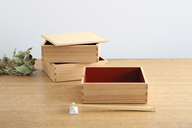 タモ白木塗 6寸三段重箱 内朱 松屋漆器店