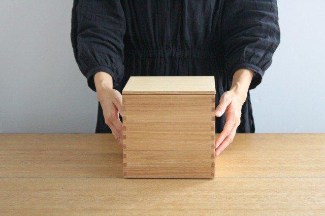 タモ白木塗 6寸三段重箱 内朱 松屋漆器店 画像2