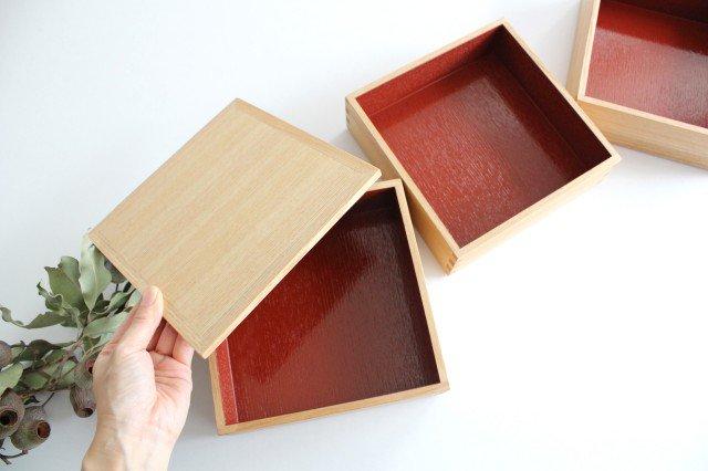 タモ白木塗 6寸三段重箱 内朱 松屋漆器店 画像3