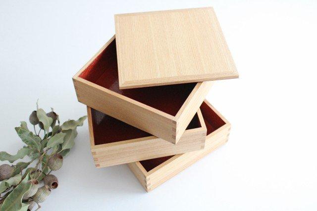 タモ白木塗 6寸三段重箱 内朱 松屋漆器店 画像4