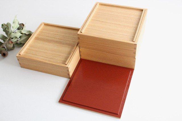 タモ白木塗 6寸三段重箱 内朱 松屋漆器店 画像6