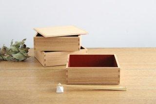 タモ白木塗 6寸三段重箱 内朱 松屋漆器店商品画像