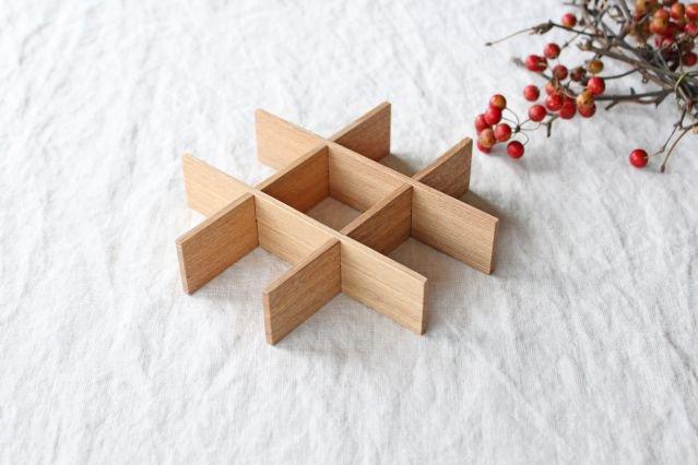 タモ白木塗 重箱用仕切り(九つ切) 松屋漆器店