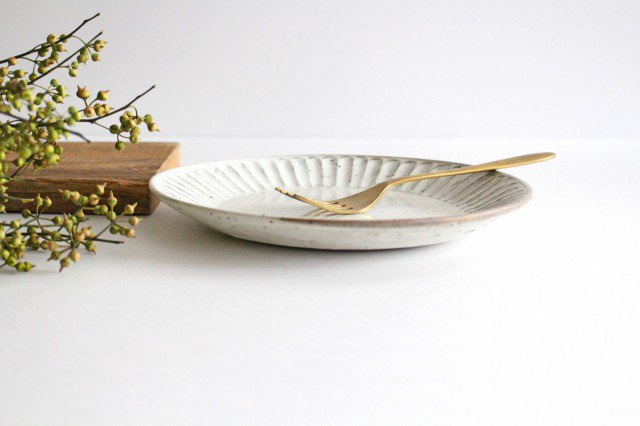 美濃焼 粉引削り大皿 陶器 画像2