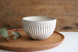 ボウル S 白しのぎ 陶器 シモヤユミコ商品画像