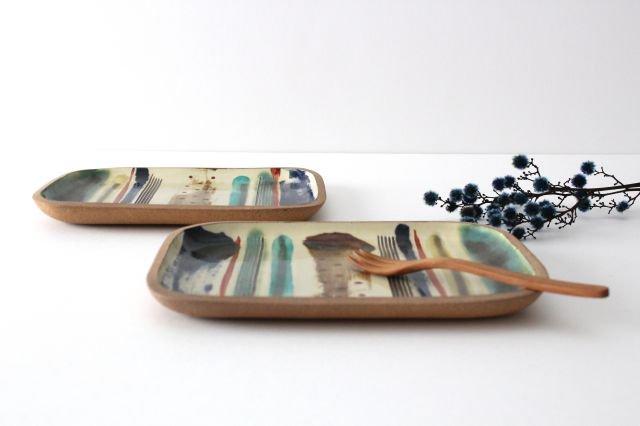 角皿 大 ストライプ 陶器 一翠窯 やちむん 画像2
