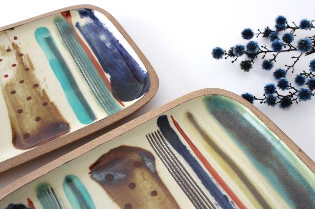 角皿 大 ストライプ 陶器 一翠窯 やちむん 画像5