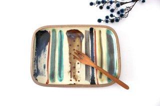 角皿 大 ストライプ 陶器 一翠窯商品画像