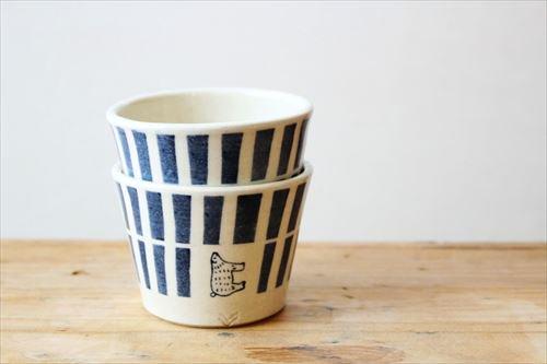 ブルーラインシロクマそばちょこ 陶器 東峯未央 画像3