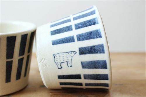 ブルーラインシロクマそばちょこ 陶器 東峯未央 画像6