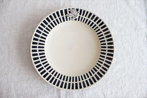 ブルーラインツバメ大皿 陶器 東峯未央