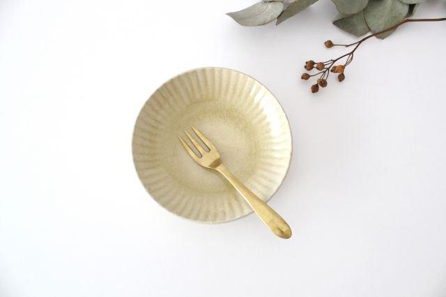 4寸皿 まる菊 灰釉(薄黄色) 陶器 たくまポタリー 画像2