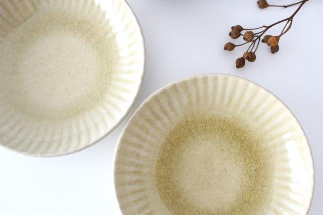 4寸皿 まる菊 灰釉(薄黄色) 陶器 たくまポタリー 画像5