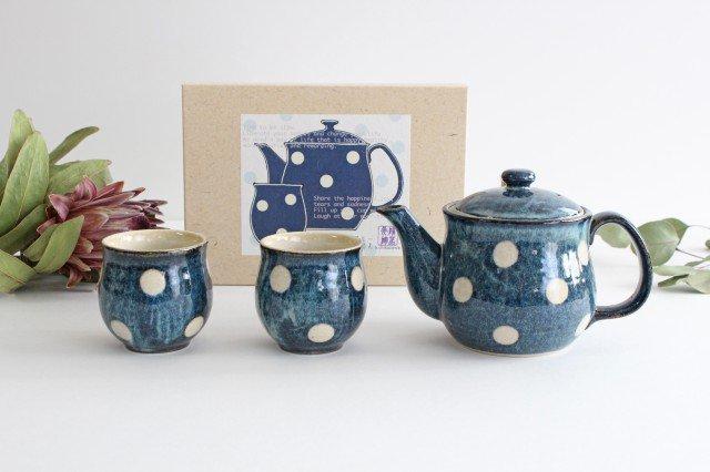 美濃焼 ドット【ポット&湯のみ2個】セット 陶器