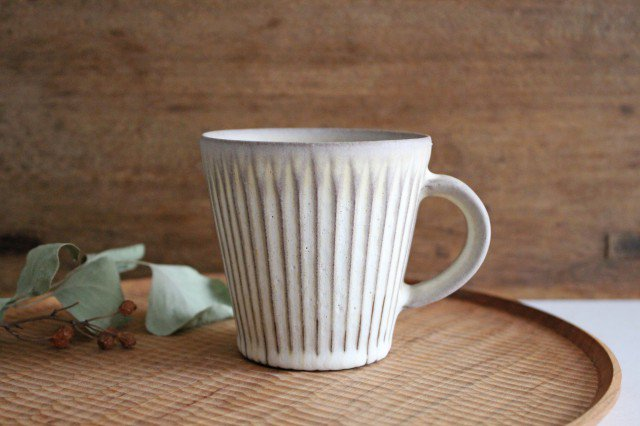 マグカップ M しのぎ 陶器 シモヤユミコ