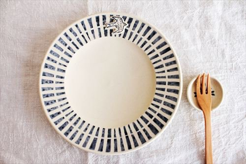 ブルーライン ツバメプレート 陶器 東峯未央