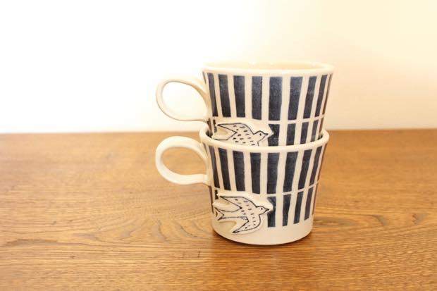 ブルーライン ツバメマグカップ 陶器 東峯未央 画像2