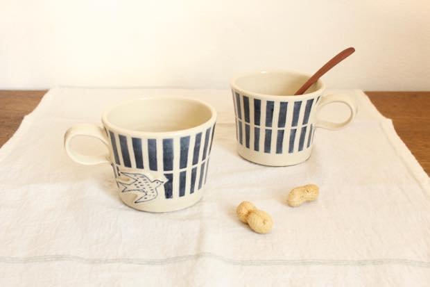 ブルーライン ツバメマグカップ 陶器 東峯未央 画像5