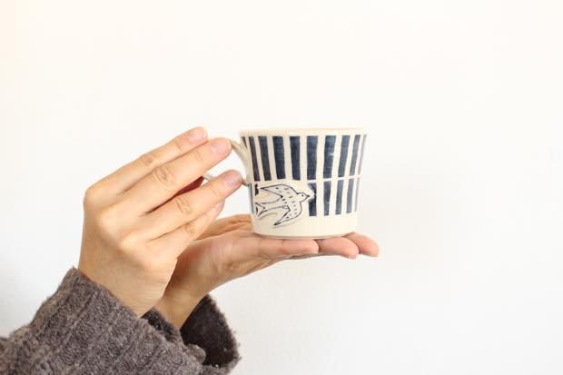 ブルーライン ツバメマグカップ 陶器 東峯未央 画像6