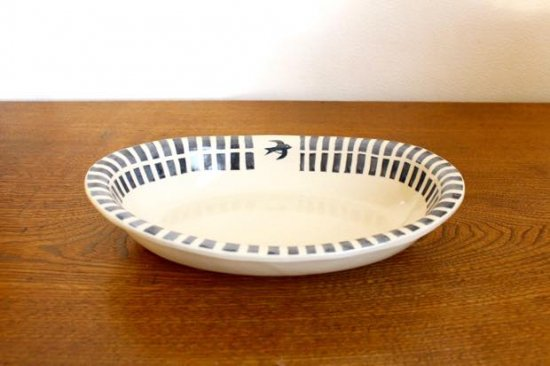 ブルーライン ツバメオーバル鉢 陶器 東峯未央 画像2