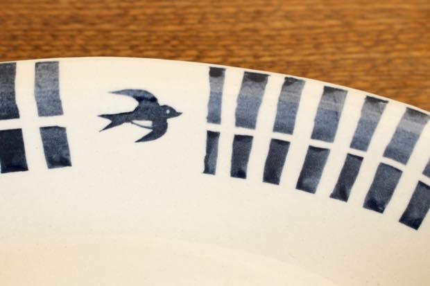 ブルーライン ツバメオーバル鉢 陶器 東峯未央 画像5