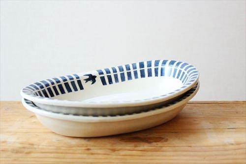 ブルーライン ツバメオーバル鉢 陶器 東峯未央 画像6