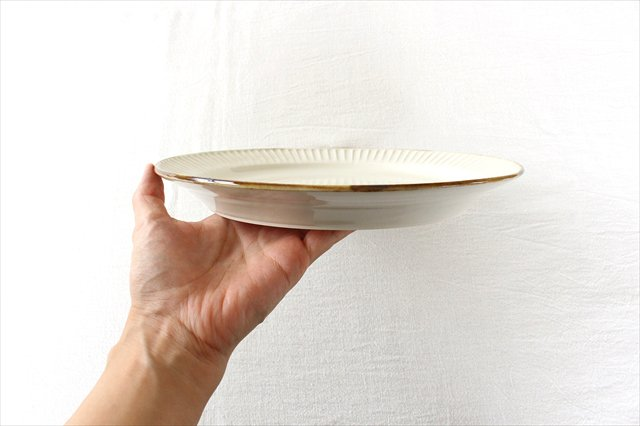 Tatebori リム平皿 ホワイト 半磁器 アトリエキウト 小出麻紀子 画像5