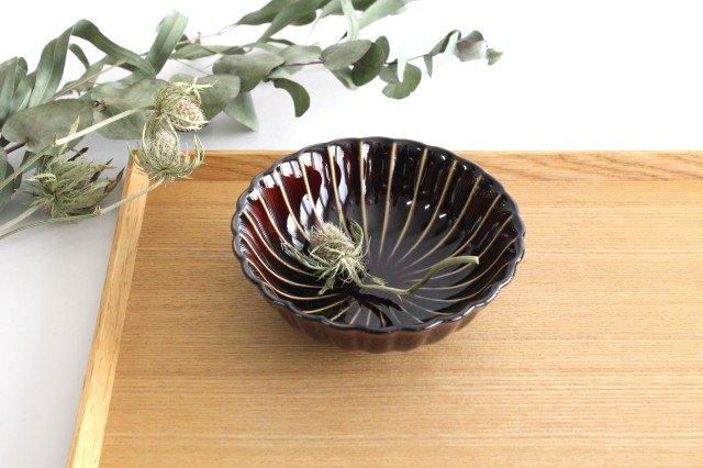 美濃焼 ぎやまん4寸鉢 漆(茶) 磁器