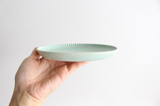 丸平皿 M ミント 半磁器 アトリエキウト 小出麻紀子 画像2