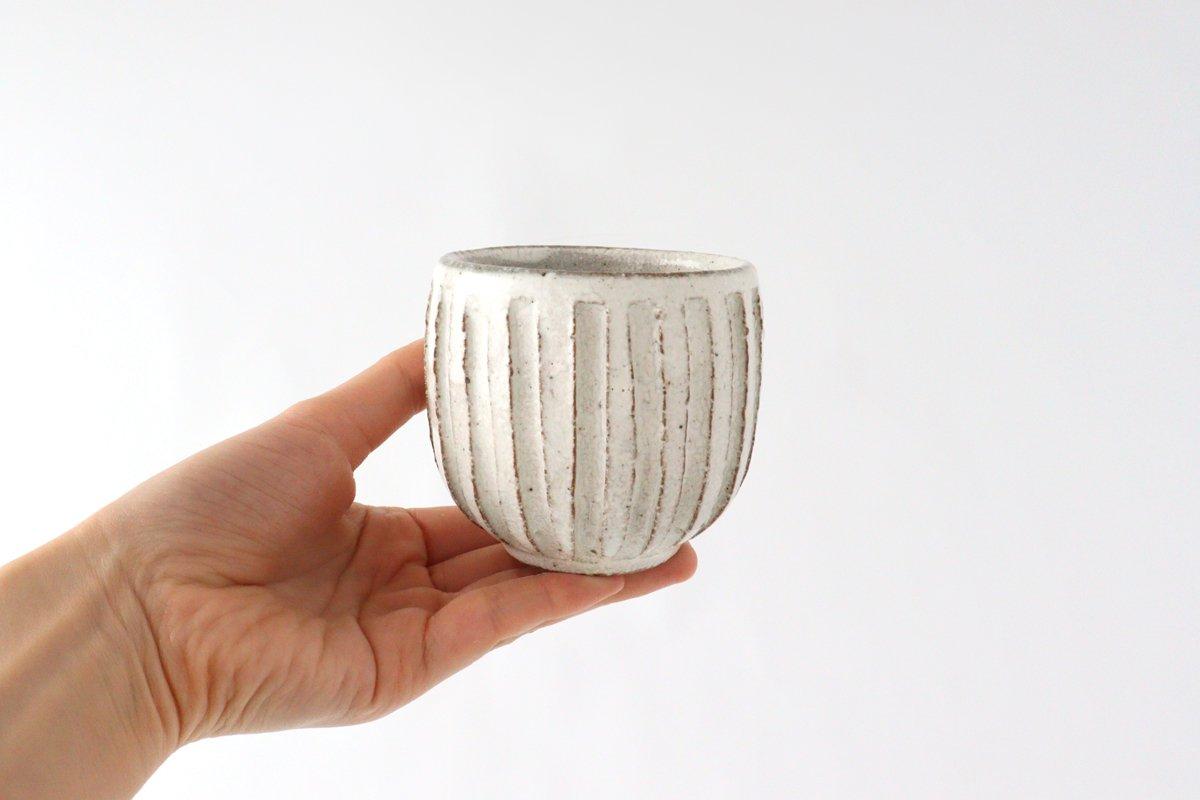 美濃焼 粉引細削ぎ 丸湯のみ 陶器 画像5