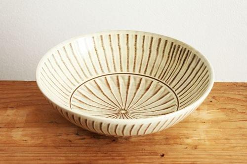 【一点もの】小石原焼 ハケメ大鉢フラシ 陶器 ヤマイチ窯 画像4