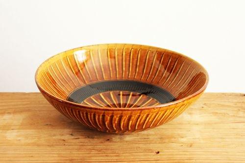 【一点もの】小石原焼 ハケメ大鉢アメ 陶器 ヤマイチ窯 画像3