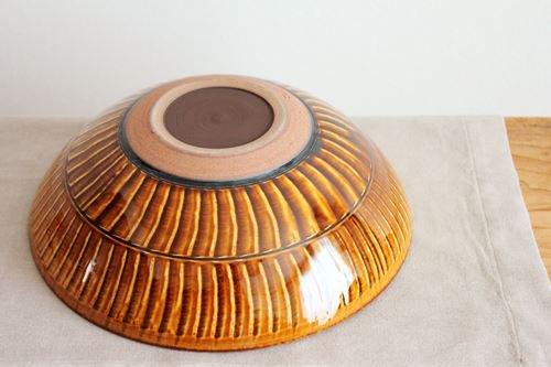【一点もの】小石原焼 ハケメ大鉢アメ 陶器 ヤマイチ窯 画像4